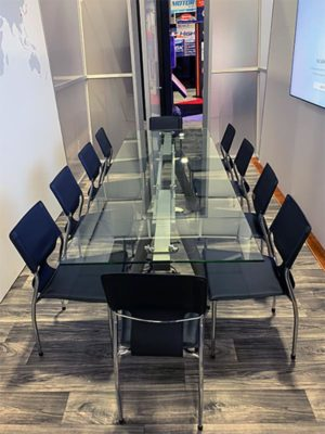 Delano Conference Table with Black Terry Chairs - LV Exhibit Rentals in Las Vegas