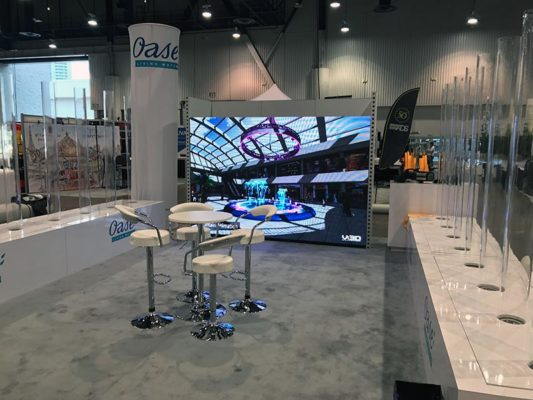 Draco Adjustable Bar Stools in White - LV Exhibit Rentals in Las Vegas