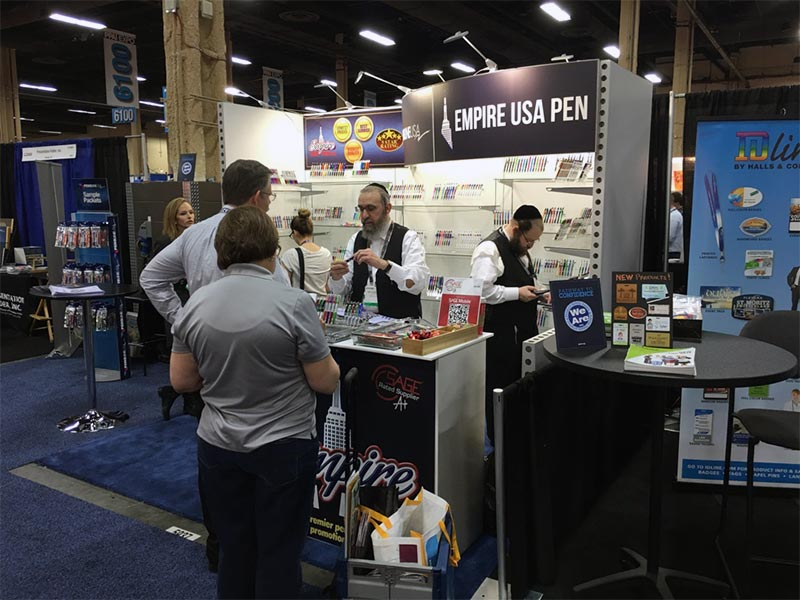 Empire USA Pen- 10x10 Trade Show Booth Rental Package 118 - Right Front Angle - LV Exhibit Rentals in Las Vegas