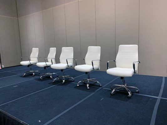 Fenella Office Chairs in White - LV Exhibit Rentals in Las Vegas