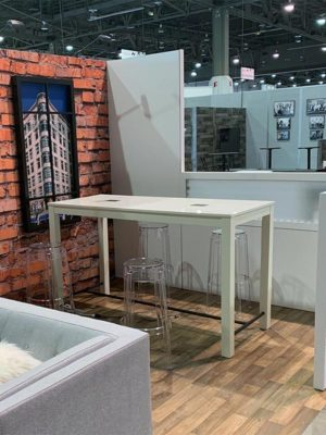 Jolt Odin Bar Table in White with Ange Bar Stools - LV Exhibit Rentals in Las Vegas