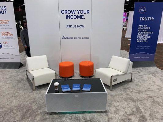 Jolt USB Lounge Chairs with Small Orange Domani Ottomans and Jolt Sobro Coffee Table - LV Exhibit Rentals in Las Vegas