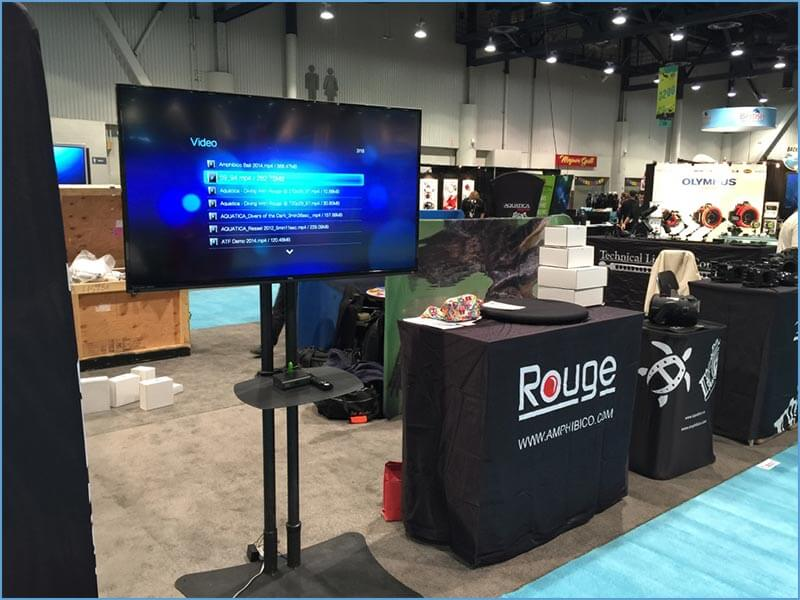 LED TV Rental Package - Dual Pole Floor Stand with Shelf - LV Exhibit Rentals in Las Vegas