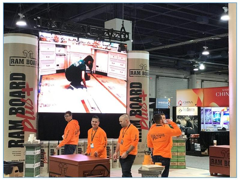 LED Video Tiles - Video Wall on Hanging Truss Rental - LV Exhibit Rentals in Las Vegas
