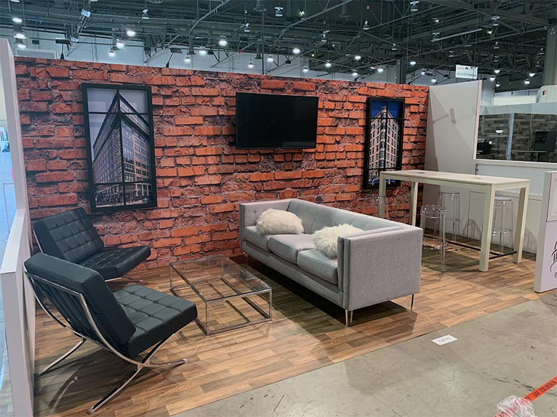Marco Lounge Chairs and Hemet Sofa with Sandor Cocktail Table - LV Exhibit Rentals in Las Vegas