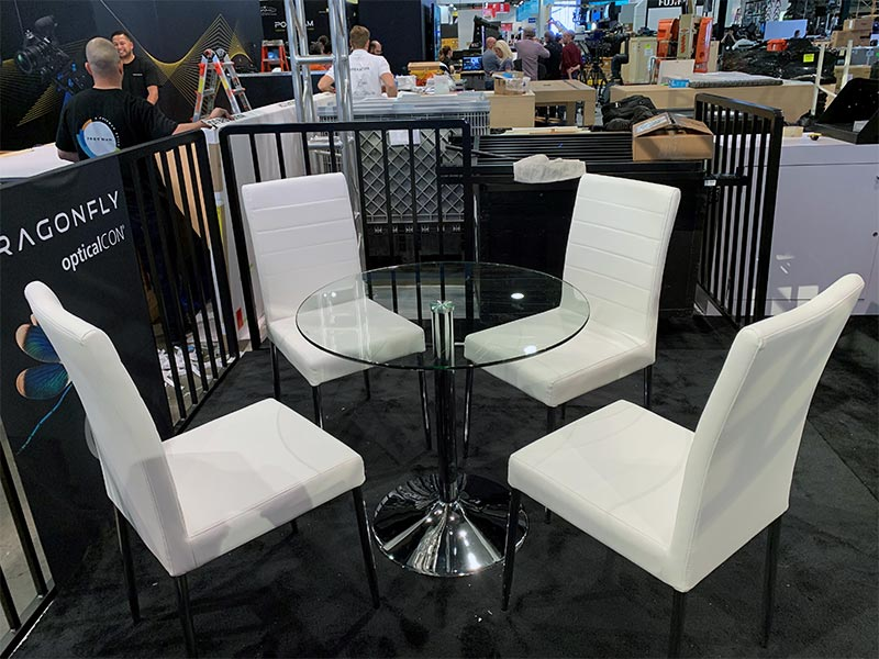 Talia Cafe Table with White Lance Chairs - LV Exhibit Rentals in Las Vegas
