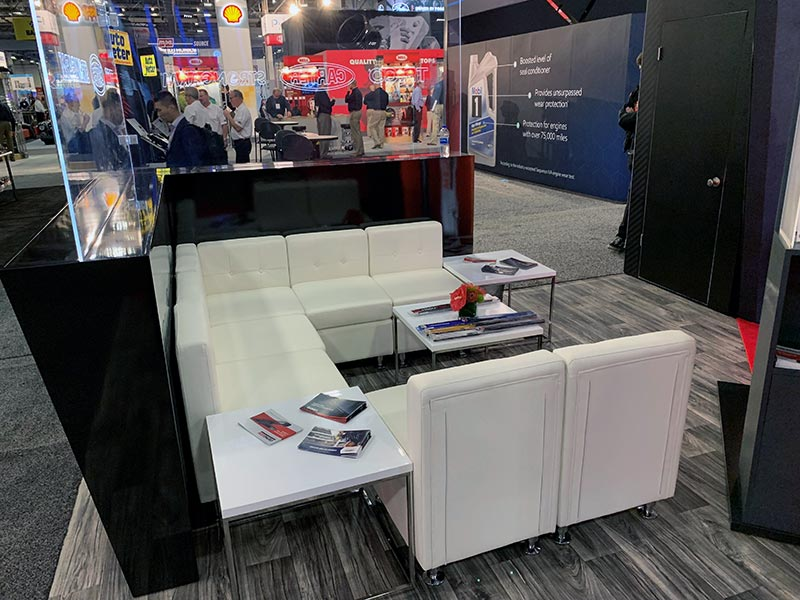Tuft Armless Lounge Chairs with Teresa End Tables - LV Exhibit Rentals in Las Vegas