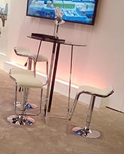 Ursula Bar Table with White Furgus Bar Stools