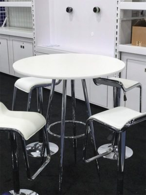 White Bravo Bar Table with White Furgus Adjustable Bar Stools - LV Exhibit Rentals in Las Vegas