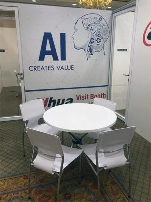 White Hydra Cafe Table with White Terry Chairs - LV Exhibit Rentals in Las Vegas