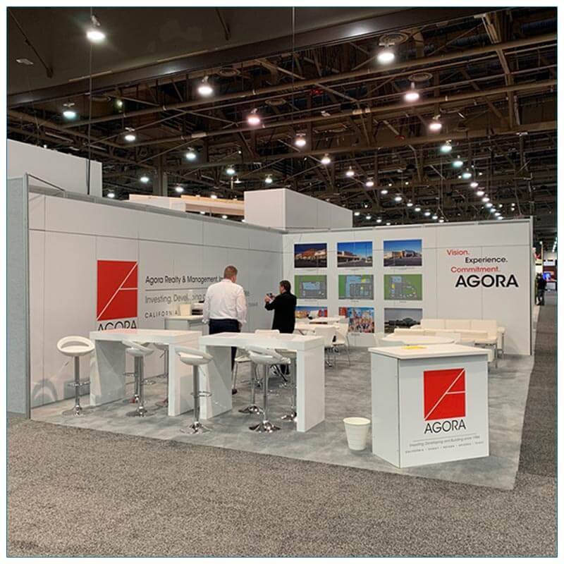 20x30 Trade Show Booth Rental Package 502 - Agora Front View - LV Exhibit Rentals in Las Vegas