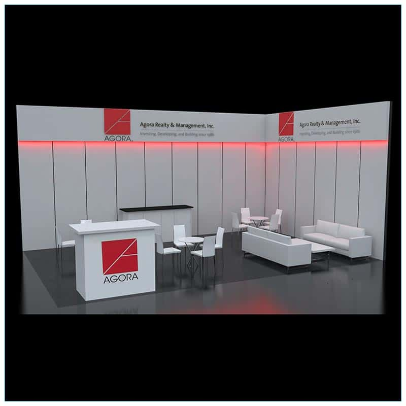 20x30 Trade Show Booth Rental Package 502 - Front Angle - LV Exhibit Rentals in Las Vegas