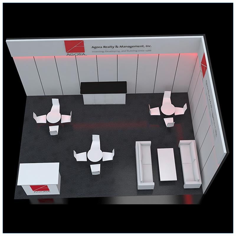 20x30 Trade Show Booth Rental Package 502 - Top-Down - LV Exhibit Rentals in Las Vegas