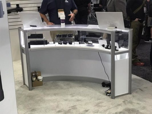 Curved Product Display Counter Rental - Rear View - LV Exhibit Rentals in Las Vegas
