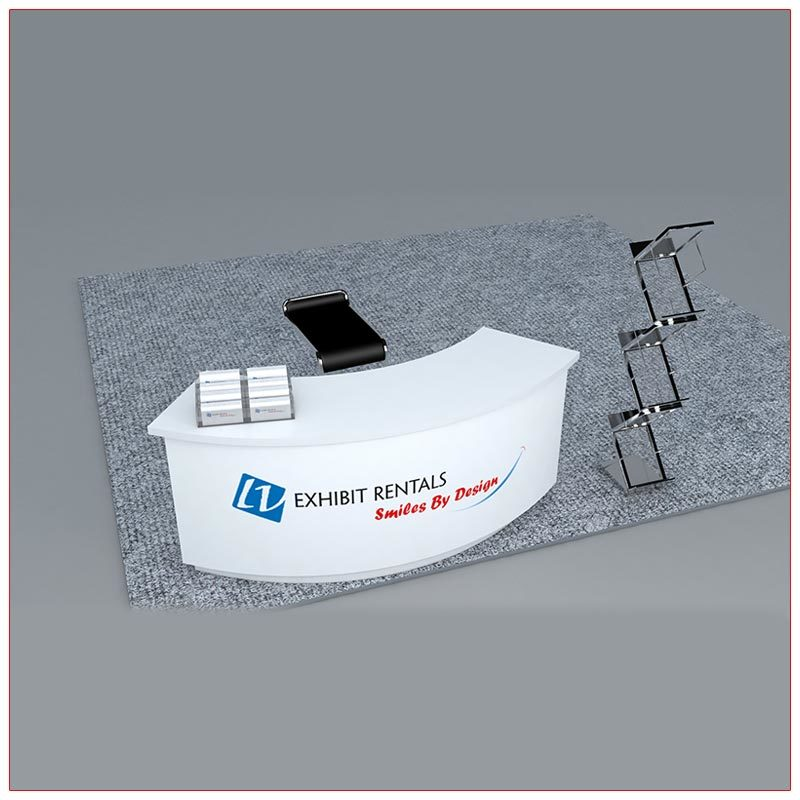 Trade Show Counter Rental Package C1 - Curved Reception Counter - Angle View - LV Exhibit Rentals in Las Vegas