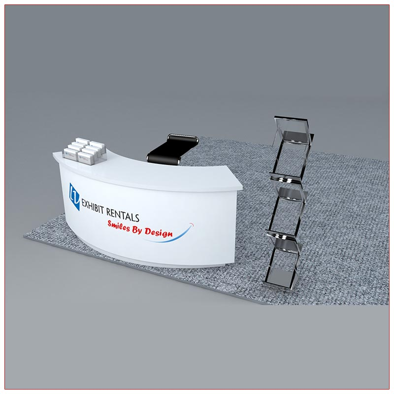 Trade Show Counter Rental Package C1 - Curved Reception Counter - Angle View2 - LV Exhibit Rentals in Las Vegas