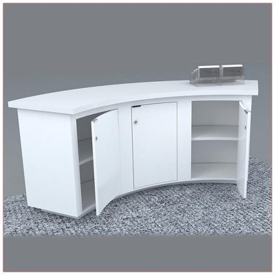Trade Show Counter Rental Package C1 - Curved Reception Counter - Locking Doors - LV Exhibit Rentals in Las Vegas
