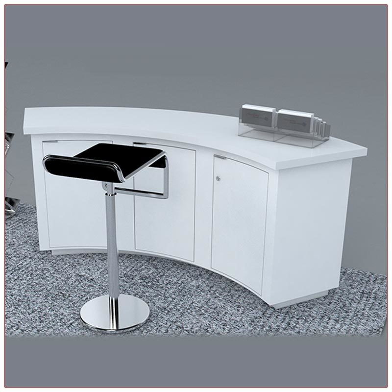 Trade Show Counter Rental Package C1 - Curved Reception Counter - Rear View - LV Exhibit Rentals in Las Vegas