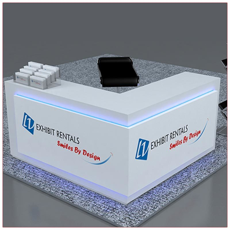 Trade Show Counter Rental Package C2 - L-Shaped Reception Counter - LV Exhibit Rentals in Las Vegas