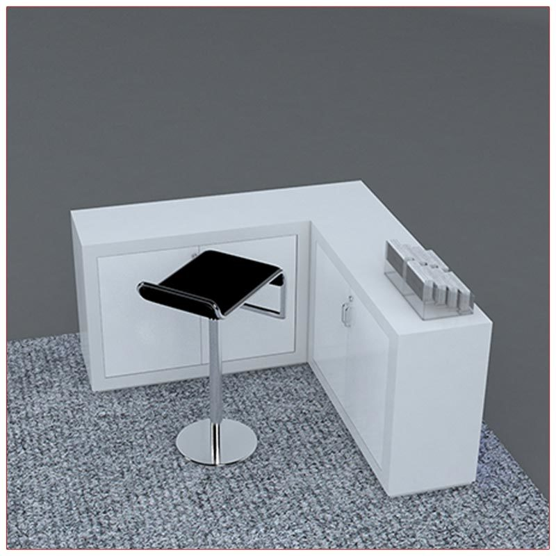 Trade Show Counter Rental Package C2 - L-Shaped Reception Counter - Rear View - LV Exhibit Rentals in Las Vegas