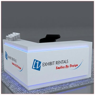 Trade Show Counter Rental Package C2 - L-Shaped Reception Counter - Side 1 - LV Exhibit Rentals in Las Vegas