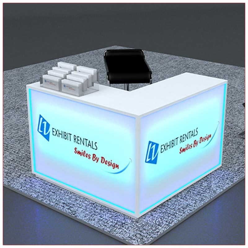 Trade Show Counter Rental Package C3 - LED Lit L-Shaped Reception Counter -Front Angle View - LV Exhibit Rentals in Las Vegas