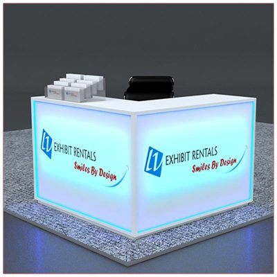 Trade Show Counter Rental Package C3 - LED Lit L-Shaped Reception Counter - LV Exhibit Rentals in Las Vegas