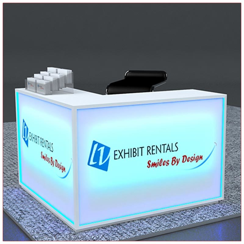 Trade Show Counter Rental Package C3 - LED Lit L-Shaped Reception Counter - Side View - LV Exhibit Rentals in Las Vegas
