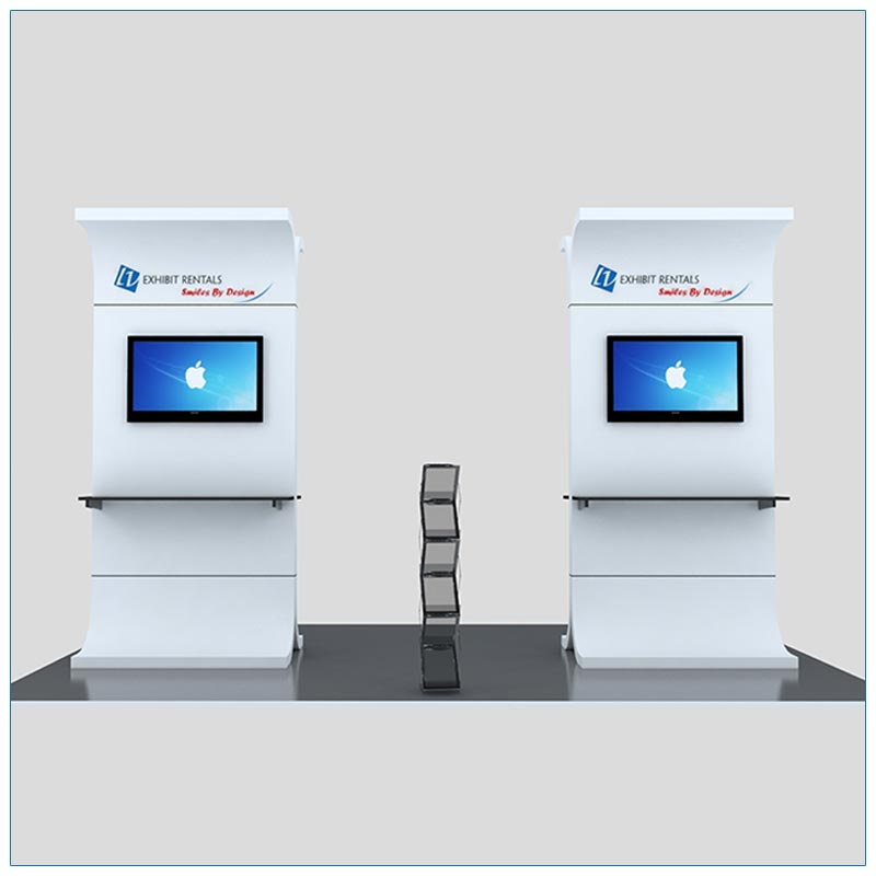 Trade Show Kiosk Rental Package K1 - Front View - LV Exhibit Rentals in Las Vegas