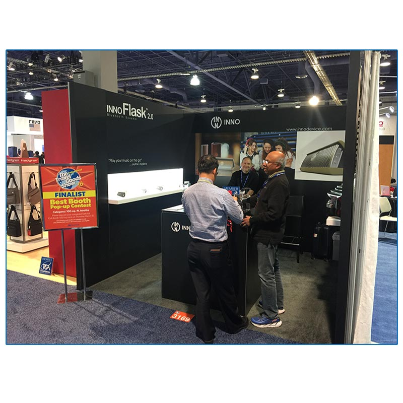 10x10 Trade Show Booth Rental Package 123 - Angle View - LV Exhibit Rentals in Las Vegas