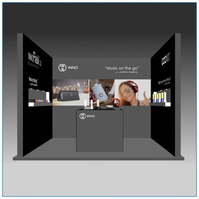 10x10 Trade Show Booth Rental Package 123 - LV Exhibit Rentals in Las Vegas