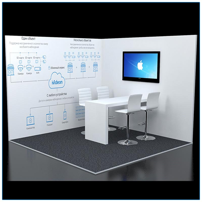 10x10 Trade Show Corner Booth Rental Package 124 - Angle View - LV Exhibit Rentals in Las Vegas