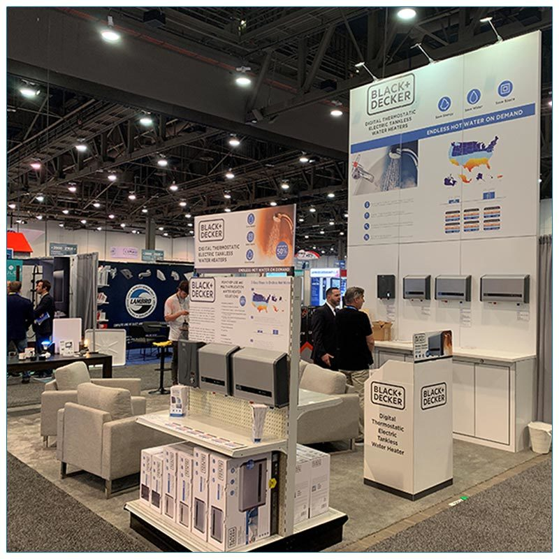 20x30 Trade Show Booth Rental Package 504 Angle View - LV Exhibit Rentals in Las Vegas