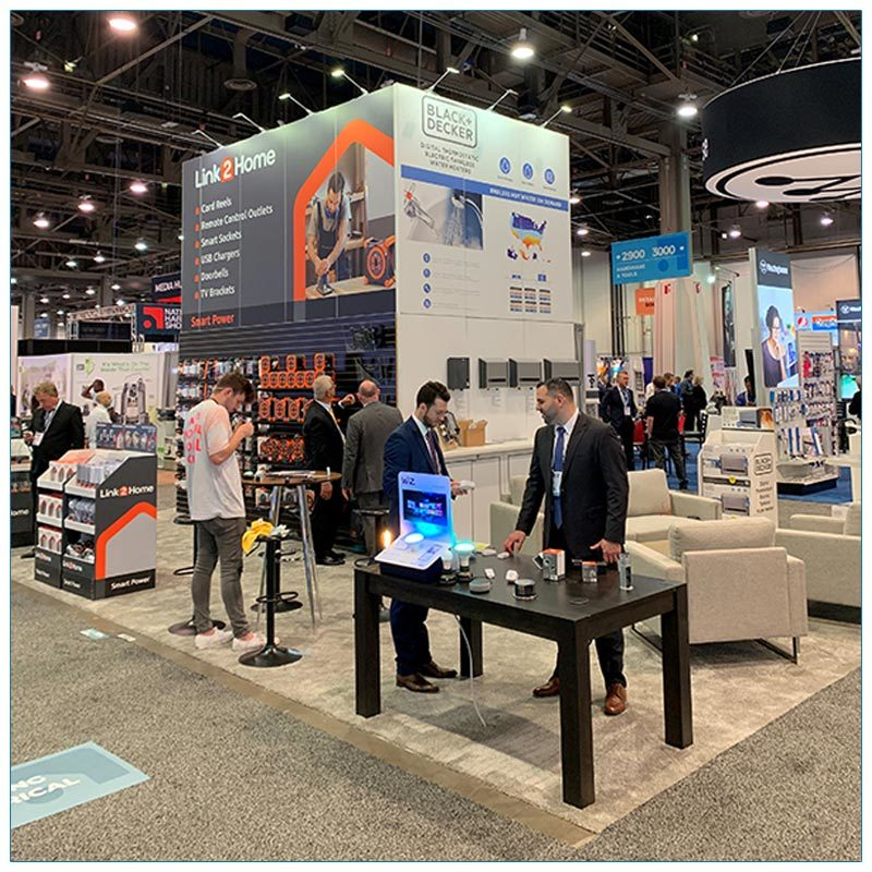 20x30 Trade Show Booth Rental Package 504 Side View - LV Exhibit Rentals in Las Vegas