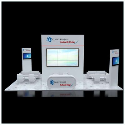 20x30 Trade Show Booth Rental Package 505 - Front View - LV Exhibit Rentals in Las Vegas