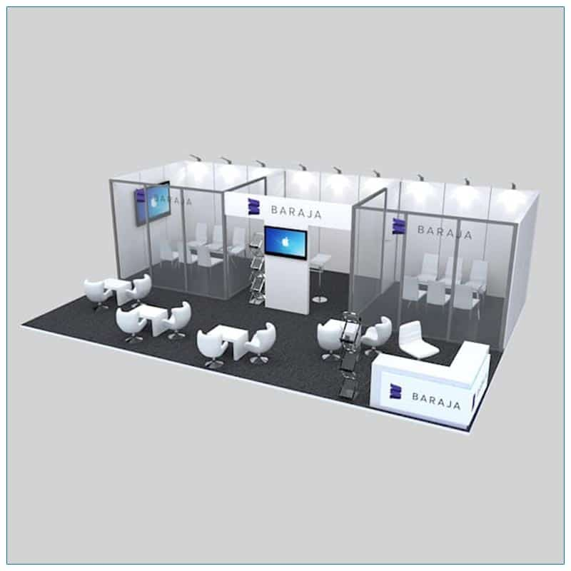 20x30 Trade Show Booth Rental Package 506 - Angle View - LV Exhibit Rentals in Las Vegas