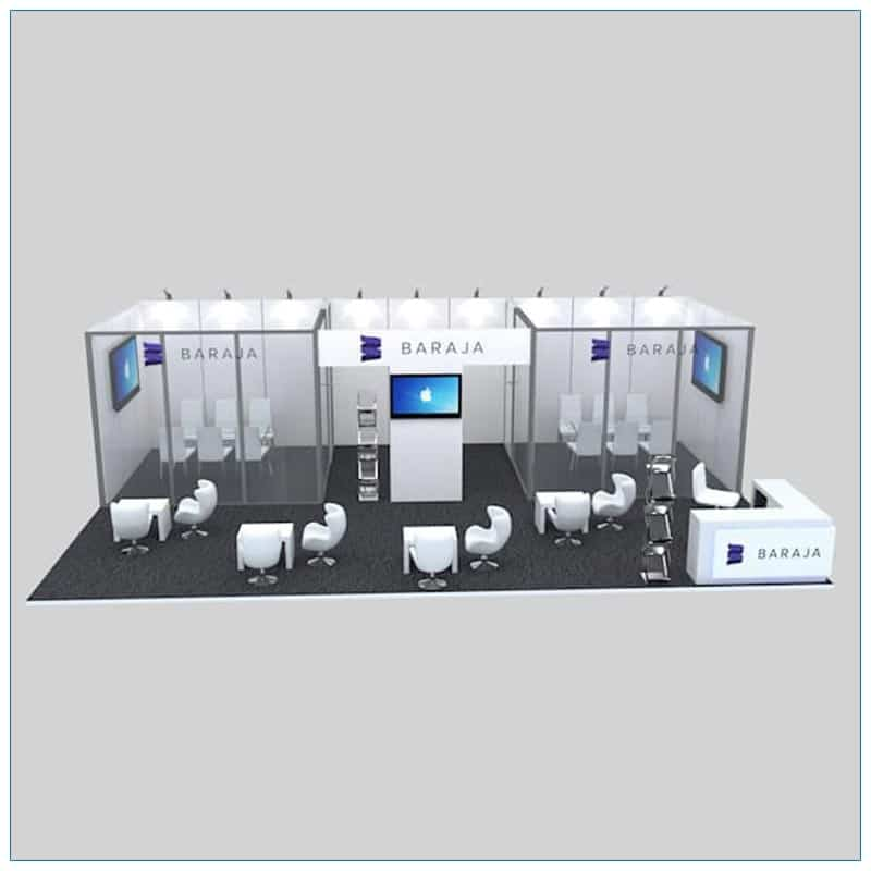 20x30 Trade Show Booth Rental Package 506 - Front View - LV Exhibit Rentals in Las Vegas