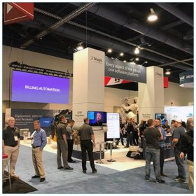 20x40 Trade Show Booth Rental Package 501 - Angle - Telogis - LV Exhibit Rentals in Las Vegas