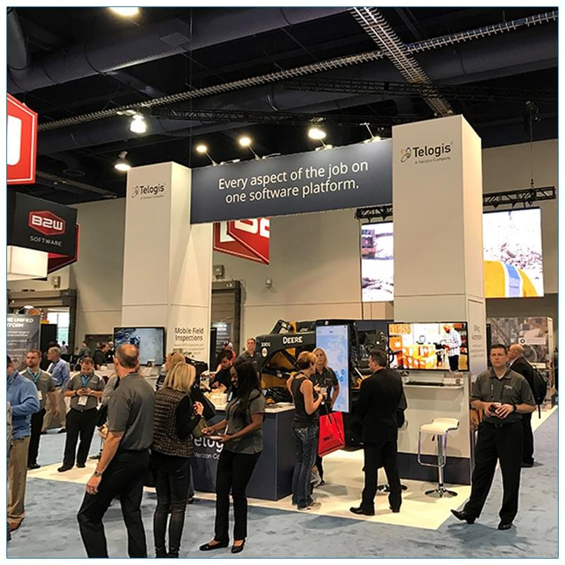 20x40 Trade Show Booth Rental Package 501 - Front Angle - Telogis - LV Exhibit Rentals in Las Vegas
