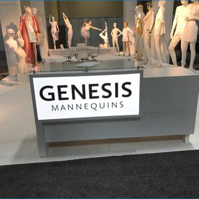 20x40 Trade Show Exhibit Rental Package - Custom Reception Counter - LV Exhibit Rentals in Las Vegas