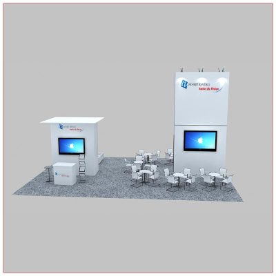 30x40 Custom Trade Show Booth Rental Package 601 - Front View - LV Exhibit Rentals in Las Vegas