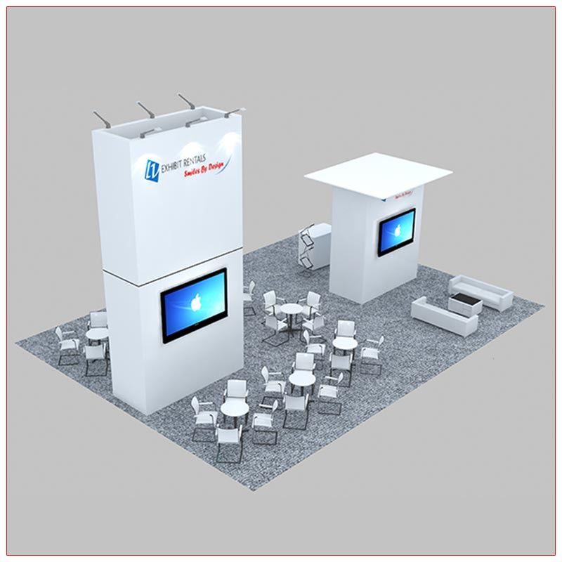 30x40 Custom Trade Show Booth Rental Package 601 - Rear View - LV Exhibit Rentals in Las Vegas