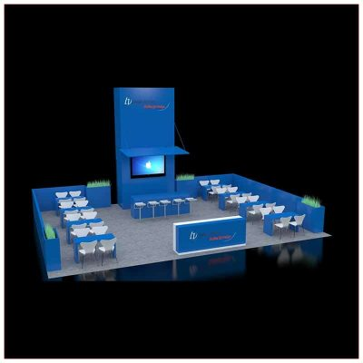 30x40 Custom Trade Show Booth Rental Package 603 - Angle View - LV Exhibit Rentals in Las Vegas