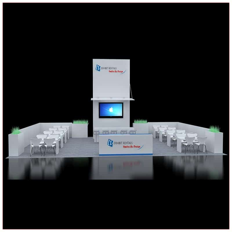 30x40 Custom Trade Show Booth Rental Package 603 - Front View - LV Exhibit Rentals in Las Vegas