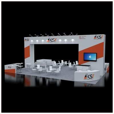 30x40 Trade Show Booth Rental - Angle View - LV Exhibit Rentals in Las Vegas