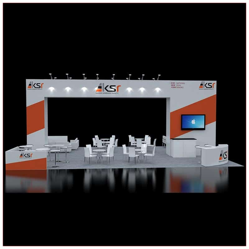 30x40 Trade Show Booth Rental - Front View - LV Exhibit Rentals in Las Vegas