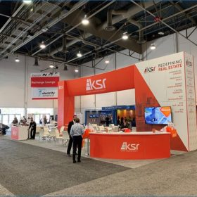 30x40 Trade Show Booth Rental Package - Custom Curved Reception Counter - LV Exhibit Rentals in Las Vegas
