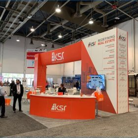 30x40 Trade Show Booth Rental Package - Front Angle View - LV Exhibit Rentals in Las Vegas