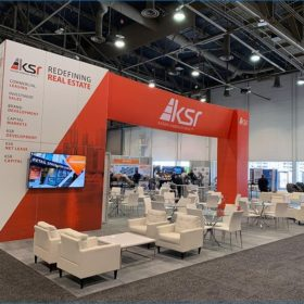 30x40 Trade Show Booth Rental Package - Rear Angle View - LV Exhibit Rentals in Las Vegas