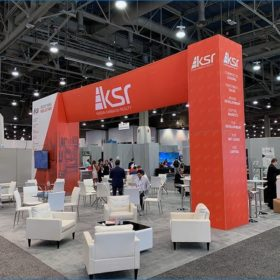 30x40 Trade Show Booth Rental Package - Rear Angle View2 - LV Exhibit Rentals in Las Vegas